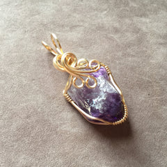 Uruguayan Amethyst Companion Crystal 14K Gold Filled Wire Wrapped Pendant
