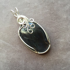 Iolite Sterling Silver Wire Wrapped Pendant