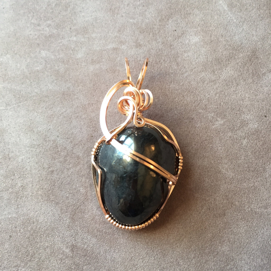 Shungite Wire Wrapped 14K Rose Gold Filled Pendant