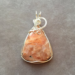 Sunstone Sterling Silver Wire Wrapped Pendant
