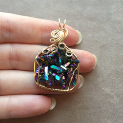 Rainbow Aura Quartz Crystal Cluster 14K Gold Filled Wire Wrapped Pendant 3