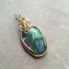 Ruby in Zoisite Wire Wrapped 14K Gold Filled Pendant