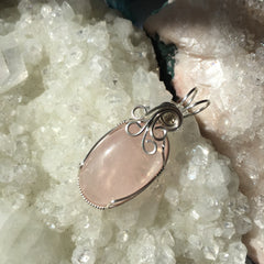 Rose Quartz Cabochon Wire Wrapped Sterling Silver Pendant
