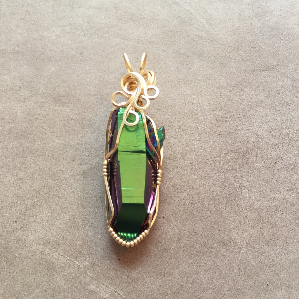 Rainbow Aura Quartz Companion Key Crystal 14K Gold Filled Wire Wrapped Pendant