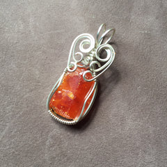 Red Cloud Mine Wulfenite Sterling Silver Wire Wrapped Pendant Very Rare