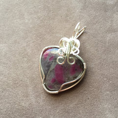Ruby in Matrix Heart Wire Wrapped Sterling Silver Pendant