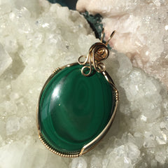 Malachite 14K Gold Filled Wire Wrapped Pendant