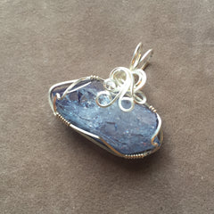 Celestial Aura Tanzine Aura Quartz Crystal East West Horizontal Wire Wrapped Sterling Silver Pendant