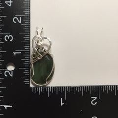 Jade Sterling Silver Wire Wrapped Pendant