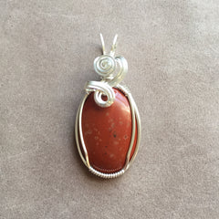 Red Jasper Sterling Silver Wire Wrapped Pendant