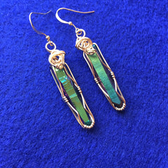 Rainbow Aura Quartz Crystal 14k Gold Filled Wire Wrapped Dangle Earrings