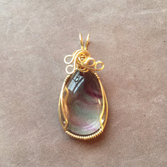 Rainbow Fluorite 14k Gold Filled Wire Wrapped Pendant