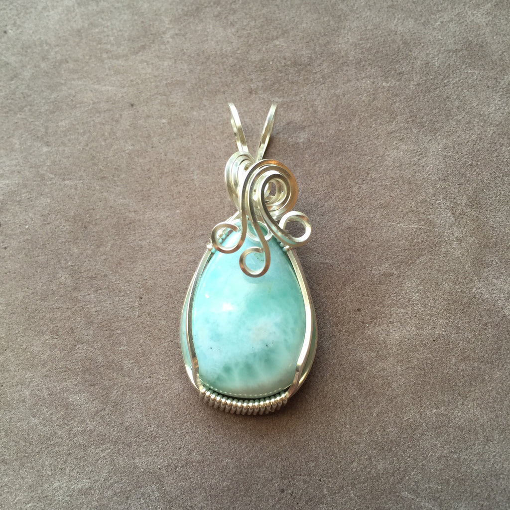 Blue Larimar Sterling Silver Wire Wrapped Pendant