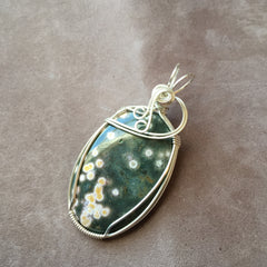 Ocean Jasper Wire Wrapped Sterling Silver Pendant
