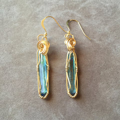Aqua Aura Quartz Crystal 14K Gold Filled Wire Wrapped Earrings