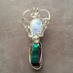 Rainbow Moonstone and Rainbow Aura Quartz DT Crystal Wire Wrapped Sterling Silver Pendant