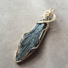 Black Kyanite Fan Blade 14K Gold Filled Wire Wrapped Pendant