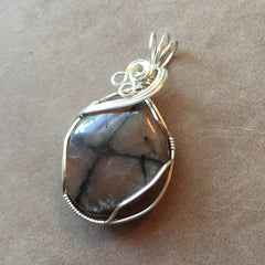 Chiastolite (Andalusite) Sterling Silver Wire Wrapped Pendant