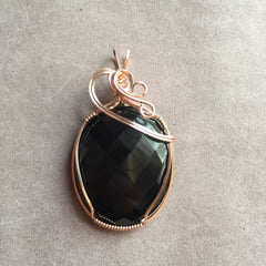 Black Onyx 14K Rose Gold Filled Wire Wrapped Pendant
