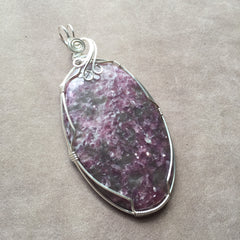 Very Large Lepidolite Sterling Silver Wire Wrapped Pendant