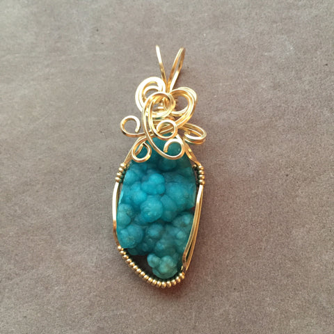 Botryoidal Hemimorphite 14K Gold Filled Wire Wrapped Pendant