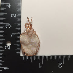 Opal Aura Angel Aura Botroydial Drusy Quartz Crystal Cluster 14K Rose Gold Filled Wire Pendant