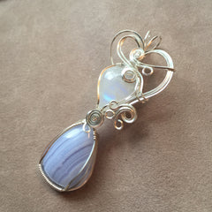 Blue Lace Agate and Rainbow Moonstone Wire Wrapped Sterling Silver Pendant