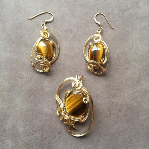 Tiger's Eye 14K Gold Filled Sculpted Wire Wrapped Pendant and Earrings Set