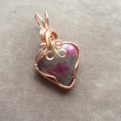 Ruby in Matrix Heart  Rose Gold Filled Pendant