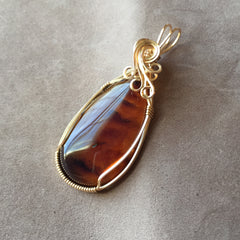 Burmite Amber 14K Gold Filled Large Wire Wrapped Pendant