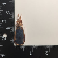 Blue Kyanite 14K Rose Filled Wire Wrapped Pendant