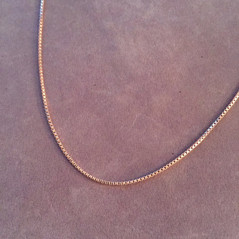 "18"" 14K Rose Gold Filled Box Chain Necklace"