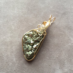 Druzy Pyrite Wire Wrapped 14K Gold Filled Pendant