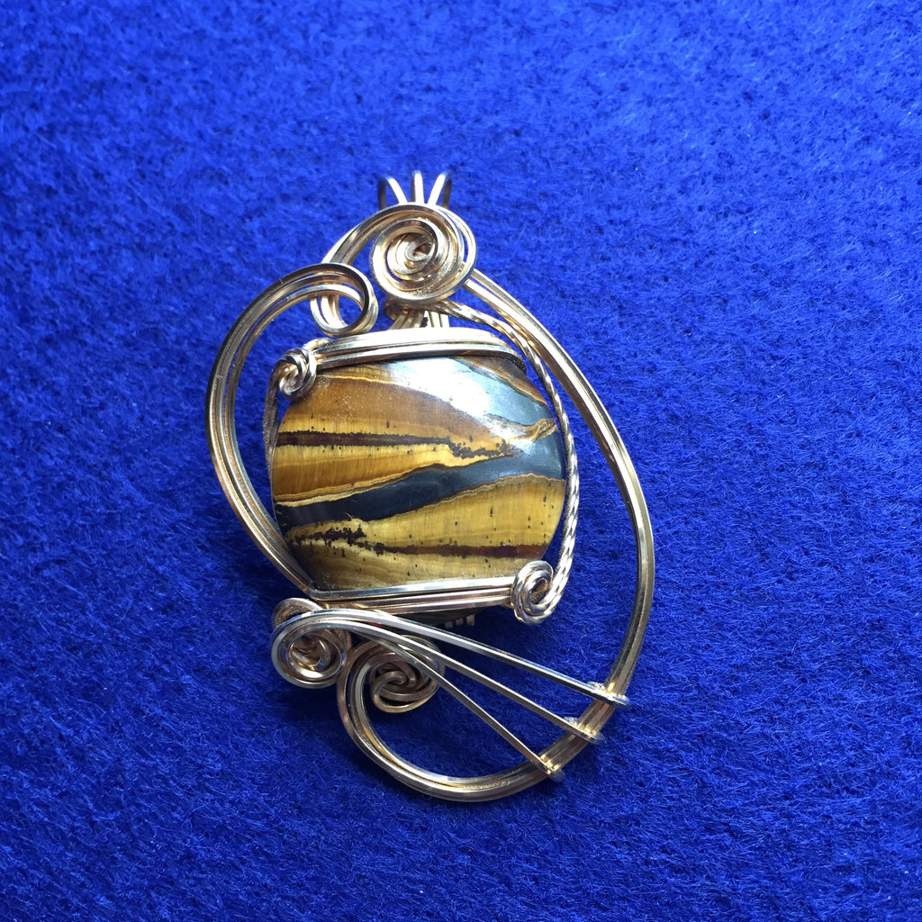 Tigers Eye Jupiter 14k Gold Filled Sculpted Wire Wrapped Pendant Sterling Silver Necklace Labradorite Blue Tiger
