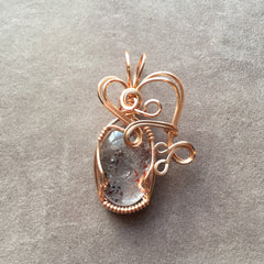 Red Lepidocrocite in Clear Quartz Wire Wrapped Rose Gold Filled Pendant