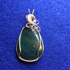 Bloodstone Teardrop Wire Wrapped 14K Gold Filled Pendant