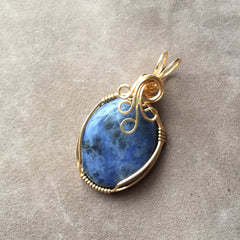 Sodalite Wire Wrapped 14K Gold Filled Pendant