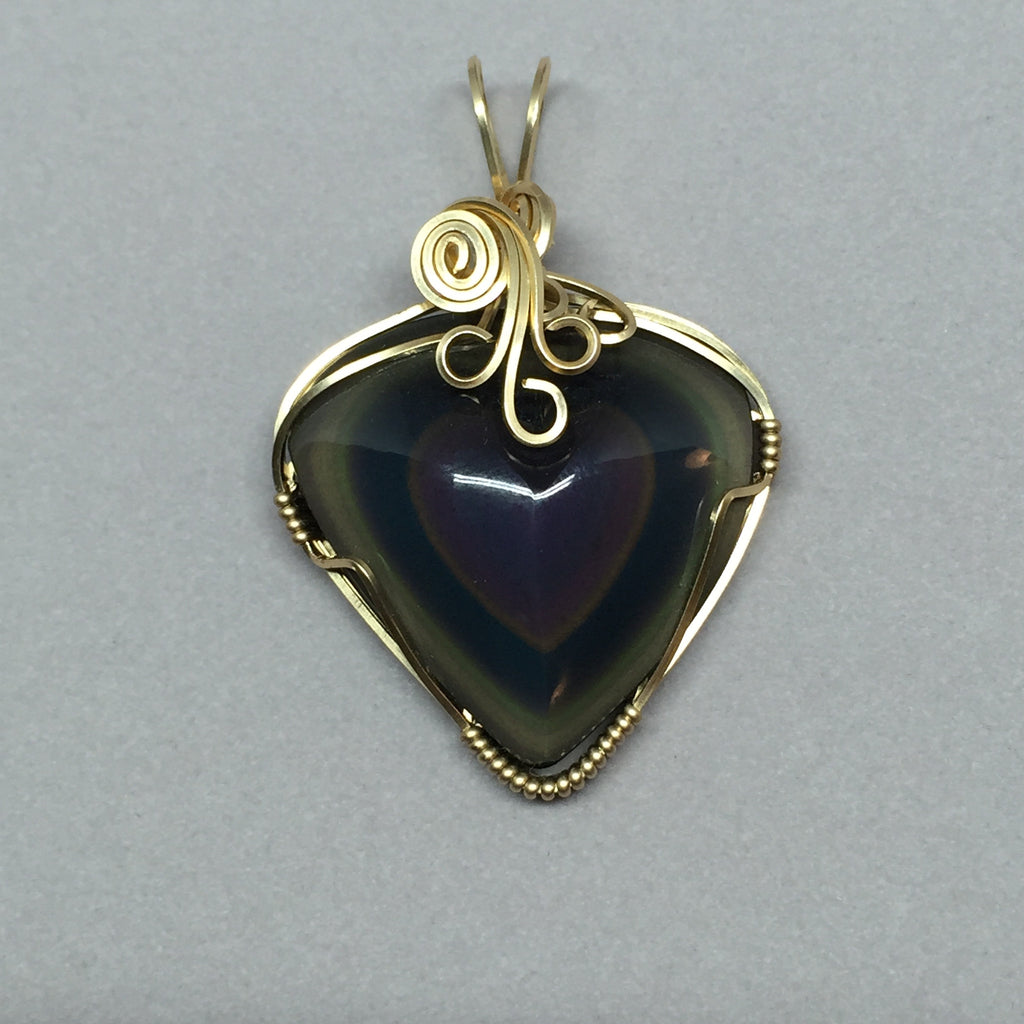 Rainbow Obsidian Carved Heart Wire Wrapped 14K Gold Filled Pendant ...