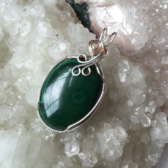 Malachite Sterling Silver Wire Wrapped Pendant