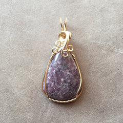 Lepidolite 14K Gold Filled Wire Wrapped Pendant