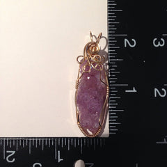 Amethyst Crystal Cluster 14K Gold Filled Wire Wrapped Pendant