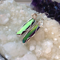 Rainbow Aura Quartz Crystal Sterling Silver Wire Wrapped Dangle Earrings