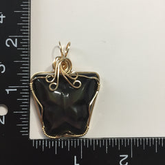 Rainbow Obsidian Carved Butterfly 14K Gold Filled Wire Wrapped Pendant