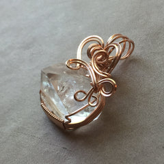 Apophyllite Pyramid Crystal 14K Rose Gold Filled Wire Wrapped Pendant