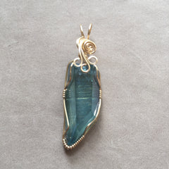 Aqua Aura Quartz Crystal 14K Gold Filled Wire Wrapped Pendant
