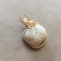 Opal Aura Angel Aura Drusy Quartz Crystal Cluster 14K Gold Filled Wire Wrapped Pendant