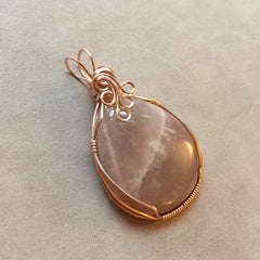 Large Peach Moonstone Rose Gold Filled Pendant