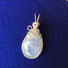 Rainbow Moonstone Teardrop Wire Wrapped Sterling Silver Pendant