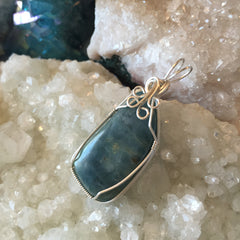 Aquamarine Wire Wrapped Sterling Silver Pendant