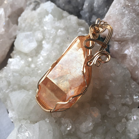 Large Sunshine Aura Quartz Crystal 14K Gold Filled Wire Wrapped Pendant